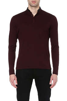 THE KOOPLES Leather-trimmed long-sleeved top