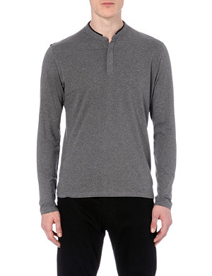 THE KOOPLES SPORT Henley leather-detail jersey top