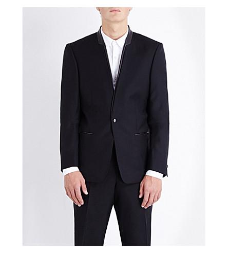 THE KOOPLES Leather-trimmed slim-fit wool jacket (Black