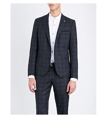 THE KOOPLES Checked slim-fit wool jacket (Grey