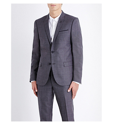 THE KOOPLES Micro-patterned slim-fit wool jacket (Grey