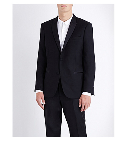 THE KOOPLES Satin-trimmed slim-fit wool jacket (Black