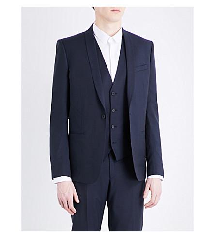 THE KOOPLES Shawl lapel slim-fit pinstriped wool jacket (Nav01