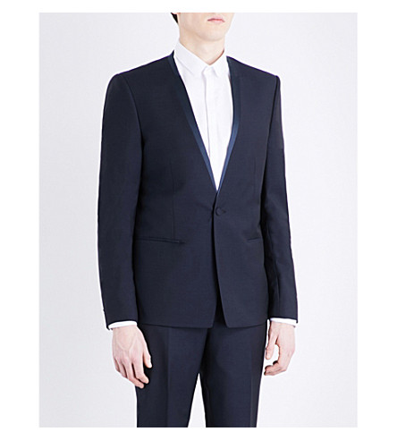 THE KOOPLES Satin-trim slim-fit wool and mohair-blend jacket (Nav01