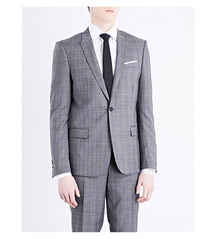 THE KOOPLES Prince of Wales check slim-fit wool jacket (Gry01