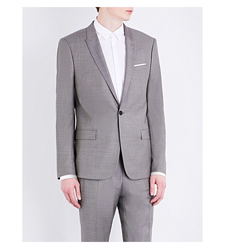 THE KOOPLES Sharkskin-woven slim-fit wool jacket (Cam04
