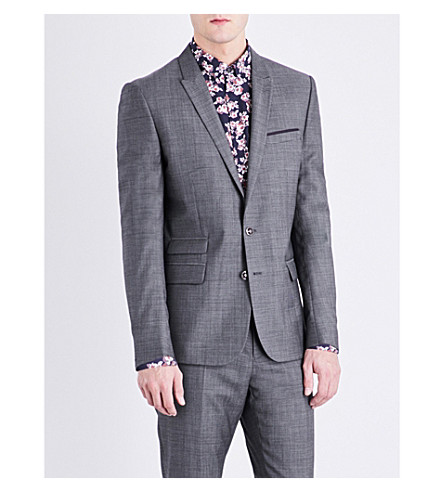 THE KOOPLES Geometric-pattern slim-fit wool jacket (Gry13