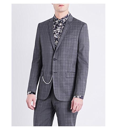 THE KOOPLES Prince of Wales-check slim-fit wool jacket (Gry13