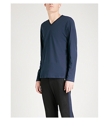 THE KOOPLES Kimono neck long-sleeved navy blue t-shi (Nav01