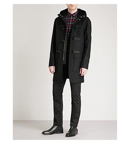 THE KOOPLES Leather-trimmed wool-blend duffel coat (Bla01