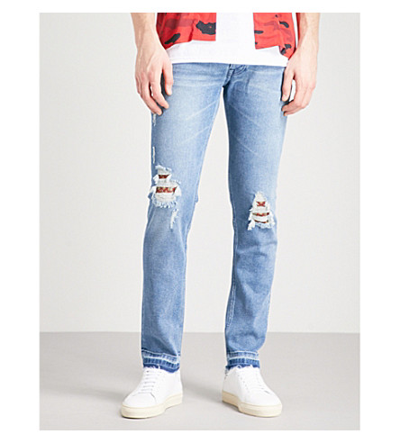 THE KOOPLES Slim-fit skinny destroyed jeans (Blu03