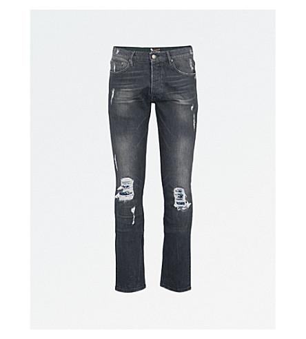 THE KOOPLES Slim-fit skinny destroyed mid-rise jeans (Bla55