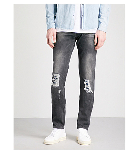 THE KOOPLES Slim-fit skinny destroyed mid-rise jeans (Bla55