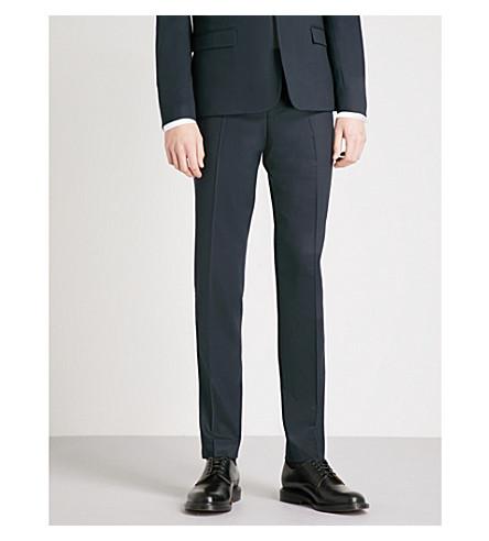THE KOOPLES Velvet-trimmed tapered stretch-wool tuxedo trousers (Nav03