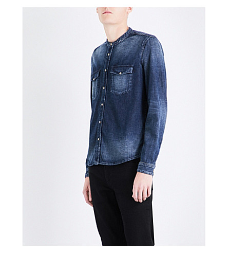 THE KOOPLES Faded-wash slim-fit denim shirt (Blue6