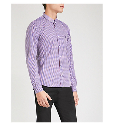 THE KOOPLES Checked slim-fit cotton shirt (Blu36