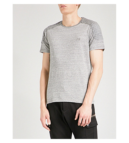 THE KOOPLES Shoulder-patch striped cotton T-shirt (Gry22