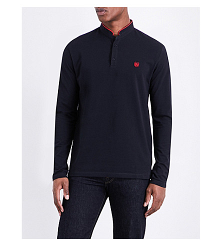 THE KOOPLES Long-sleeved cotton-piqué polo shirt (Nav07
