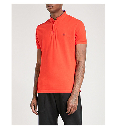 THE KOOPLES Officer-collar slim-fit cotton-piqué polo shirt (Red79