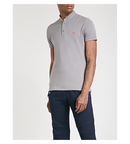 THE KOOPLES Officer-collar slim-fit cotton-piqué polo shirt (Gryc1