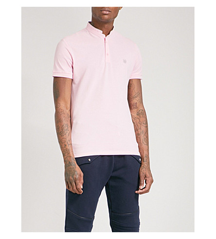 THE KOOPLES Officer-collar slim-fit cotton-piqué polo shirt (Pina6