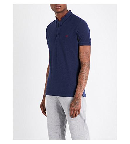 THE KOOPLES Officer-collar slim-fit cotton-piqué polo shirt (Nav75