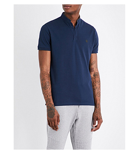 THE KOOPLES Officer-collar slim-fit cotton-piqué polo shirt (Nav77