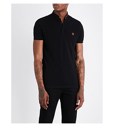 THE KOOPLES Officer-collar slim-fit cotton-piqué polo shirt (Blab1