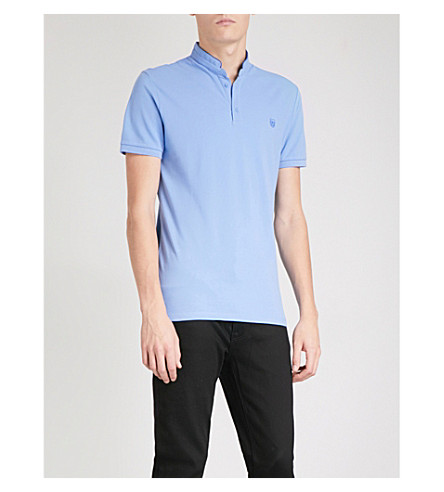 THE KOOPLES Officer-collar slim-fit cotton-piqué polo shirt (Bluu4
