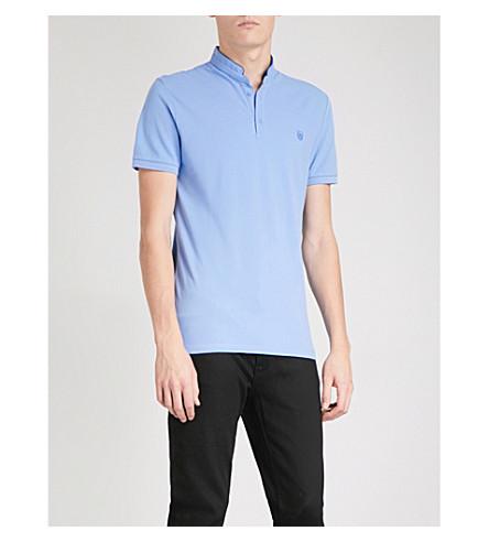 THE KOOPLES Officer-collar slim-fit cotton-piqué polo shirt (Bluu4