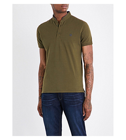 THE KOOPLES Officer-collar cotton-piqué polo shirt (Grn54