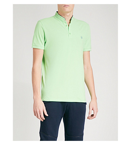 THE KOOPLES Officer-collar slim-fit cotton-piqué polo shirt (Grn55