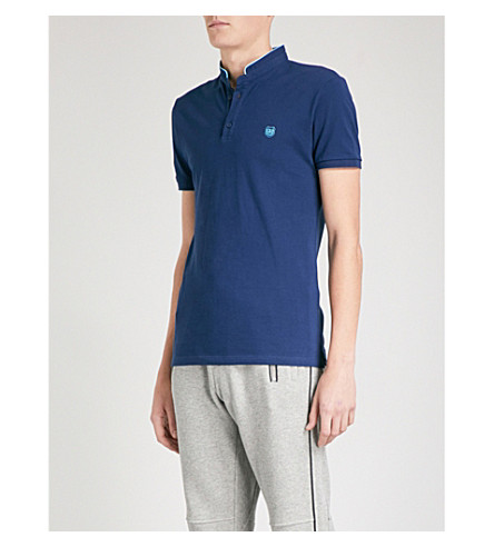 THE KOOPLES Officer-collar slim-fit cotton-piqué polo shirt (Nav76