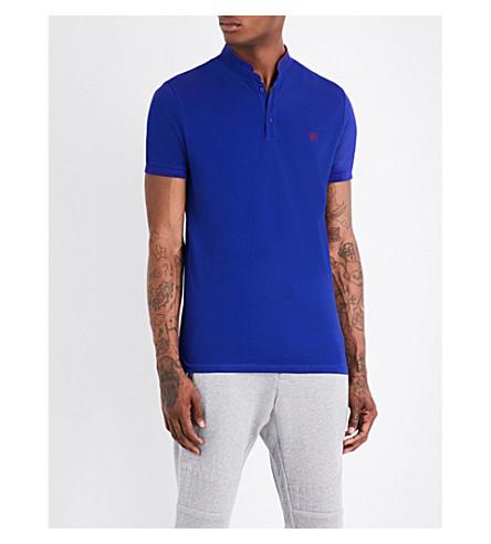 THE KOOPLES Officer-collar cotton-piqué polo shirt (Nav79