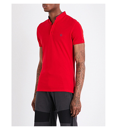 THE KOOPLES Officer-collar cotton-piqué polo shirt (Red82