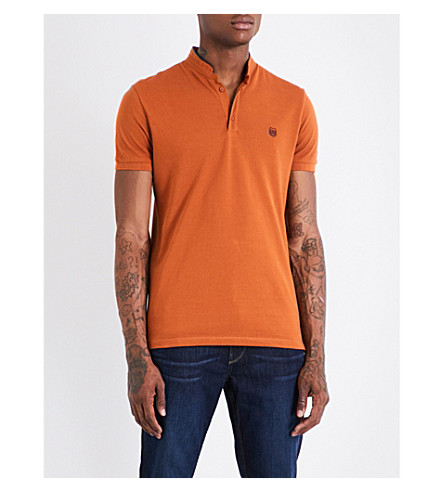 THE KOOPLES Officer-collar cotton-piqué polo shirt (Yel32