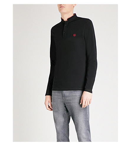 THE KOOPLES Long-sleeved cotton-piqué polo shirt (Blab4