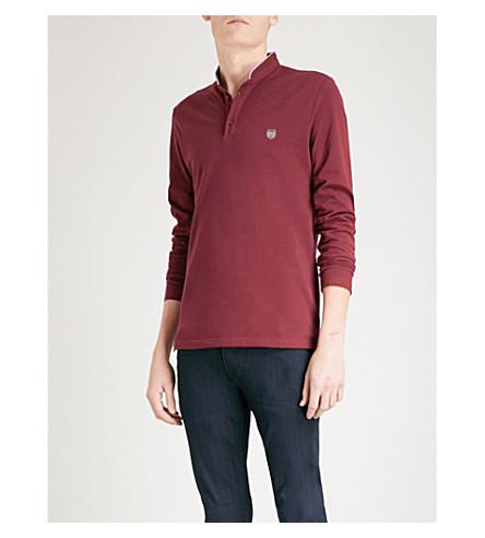 THE KOOPLES Long-sleeved cotton-piqué polo shirt (Bur31