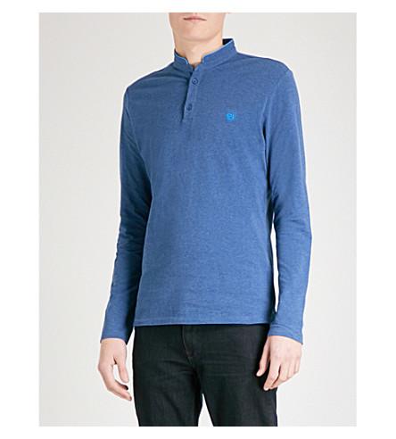 THE KOOPLES Long-sleeved cotton-piqué polo shirt (Nav87