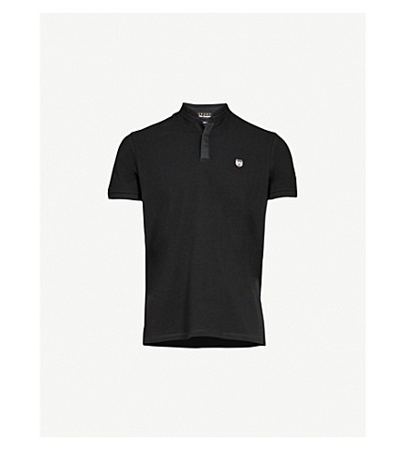 THE KOOPLES Officer-collar cotton polo shirt (Bla06