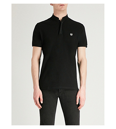 THE KOOPLES Officer-collar cotton polo shirt (Bla06