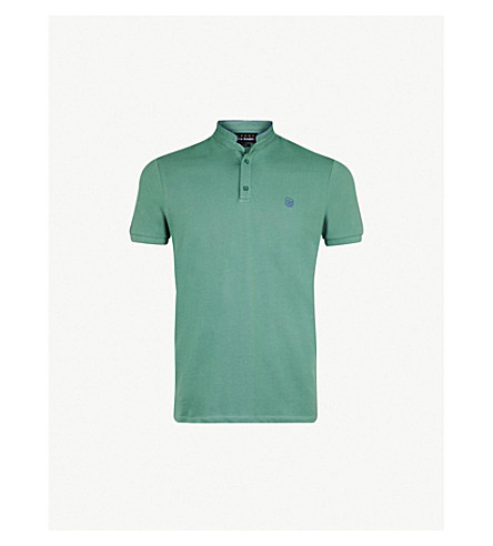 THE KOOPLES Officer-collar cotton polo shirt (Grn59