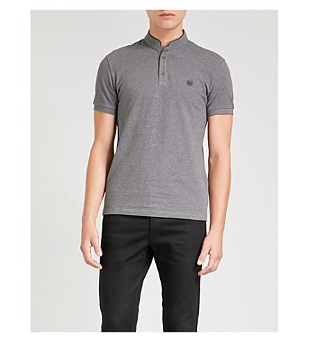 THE KOOPLES Officer-collar cotton-piqué polo shirt (Gry66
