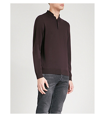 THE KOOPLES Leather-trimmed wool polo shirt (Pur26