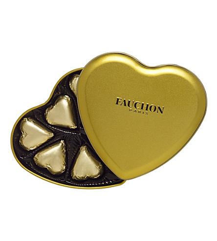 FAUCHON Gold chocolate heart tin 75g