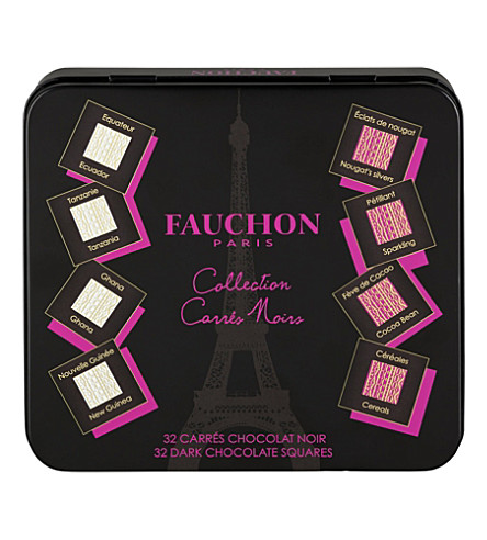 FAUCHON Tin of 32 napolitans dark chocolates