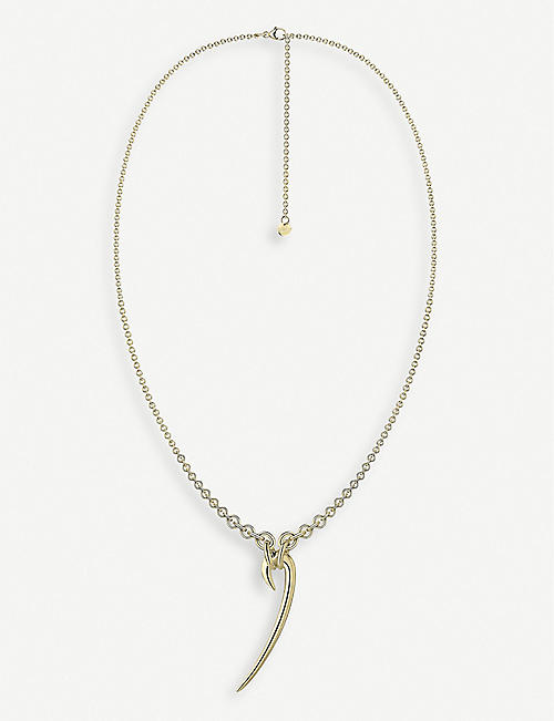 SHAUN LEANE Drop hook yellow gold-plated vermeil sterling silver necklace