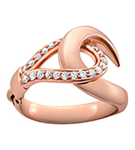 SHAUN LEANE Signature 18ct rose-gold and diamond hook ring