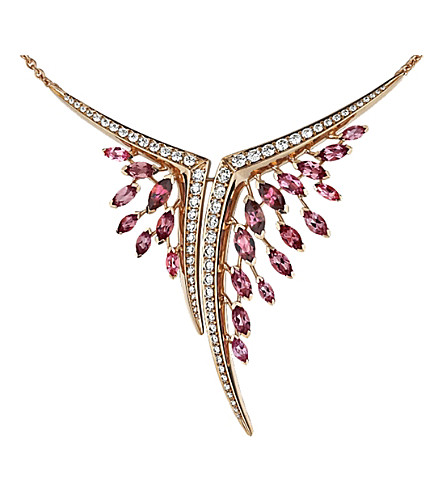 SHAUN LEANE Aerial 18ct rose-gold, pink tourmaline and white diamond necklace