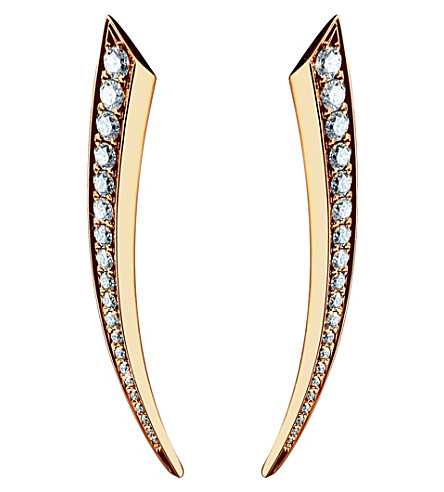 SHAUN LEANE Sabre 18ct rose-gold and diamond earrings